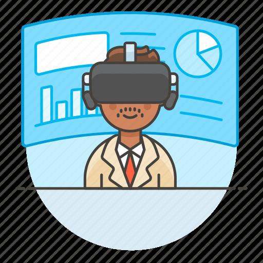 2, augmented, business, environment, man, presentation, reality, virtual, vr icon