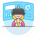 augmented, business, environment, presentation, reality, virtual, vr, woman icon