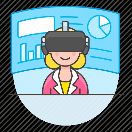 augmented, business, environment, presentation, reality, virtual, vr, woman icon