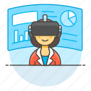 1, augmented, business, environment, presentation, reality, virtual, vr, woman icon