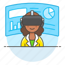 2, augmented, business, environment, presentation, reality, virtual, vr, woman icon