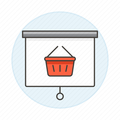 basket, business, presentation, projection, projector, screen icon