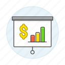 bar, benefit, business, chart, dollar, graph, money, presentation, projection, projector, screen icon