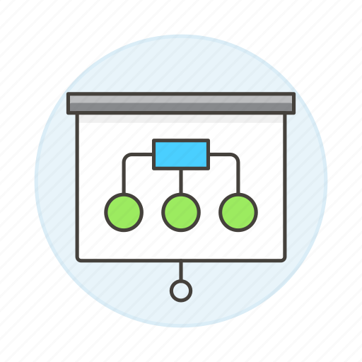 business, graph, hierarchy, presentation, projection, projector, screen, tree icon