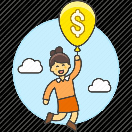 1, air, balloon, benefit, business, cash, floating, growth, impulse, money, profit, sky, success, woman icon