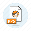 1, business, file, format, point, power, pps, presentation, slides icon