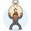 bag, bill, burden, business, carry, cash, debt, expenses, man, money, stress icon