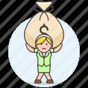 bag, bill, burden, business, carry, cash, debt, expenses, money, stress, woman icon