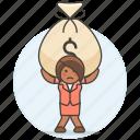 bag, stress, cash, burden, woman, expenses, bill, business, carry, money, debt icon