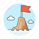 business, flag, goal, growth, level, mountain, peak, profit, red, success, summit, top icon
