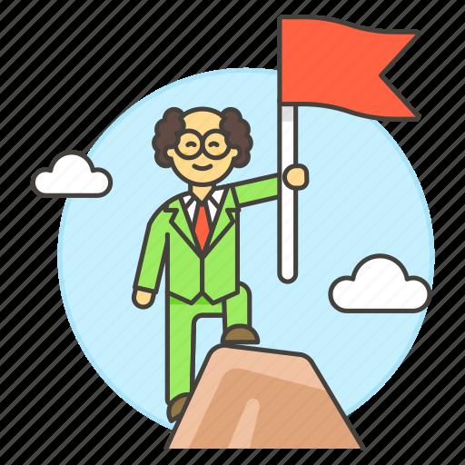 achievement, business, goal, growth, man, objective, profit, property, reach, success, summit, triumph icon