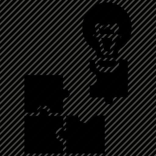 analytics, blocks, creative, idea, puzzle, solution icon