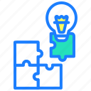 analytics, blocks, creative, idea, puzzle, solution icon