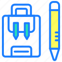 bag, education, pencil, school, study, travel icon