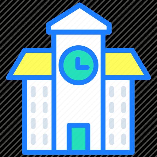bank, banking, clock, hours, school, time, treasury icon