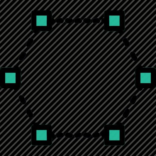design, edit, graphic, hexagon, joints, tool icon