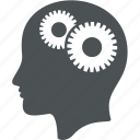 business, commerce, finance, gear, head, person, user icon