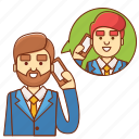 businessman, call, communication, customer service, information, support, talk icon