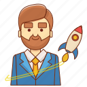 business, businessman, finance, launch, marketing, rocket, startup icon