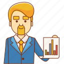 analytics, boss, business, businessman, finance, marketing, success icon