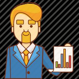 analytics, boss, business, businessman, finance, marketing, success icon