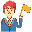 business, businessman, competition, flag, progress, succcess, winning icon