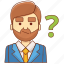 ask, businessman, customer, help, information, service, support icon