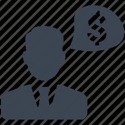businessman, chat bubble, dollar man, industrialist, investor icon