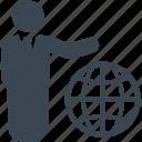 business, businessman, global, globe, man, network icon