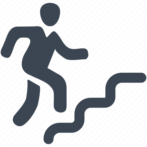 business, businessman, graph, man, running, stairs icon