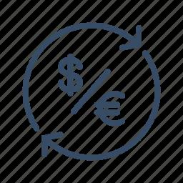 conversion, dollar, euro, exchange, finance, money, transfer icon