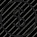 circle, coin, dollar, mark icon