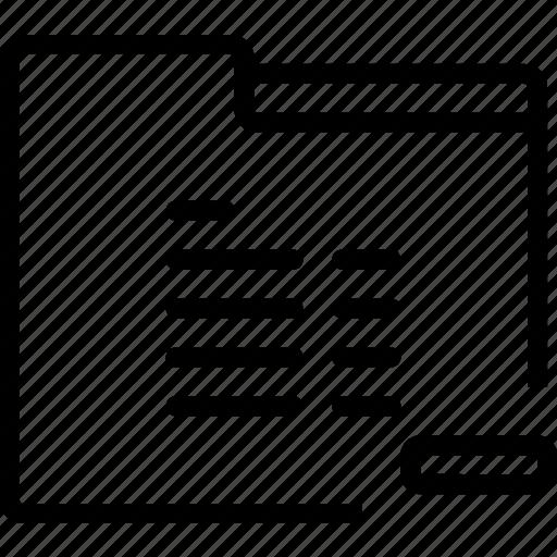 folder, minus, paper, remove, report icon