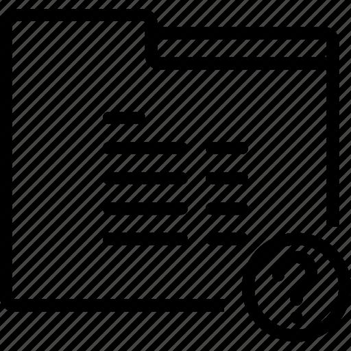 folder, mark, paper, question, report icon