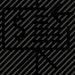 arrow, board, dollar, left, report icon
