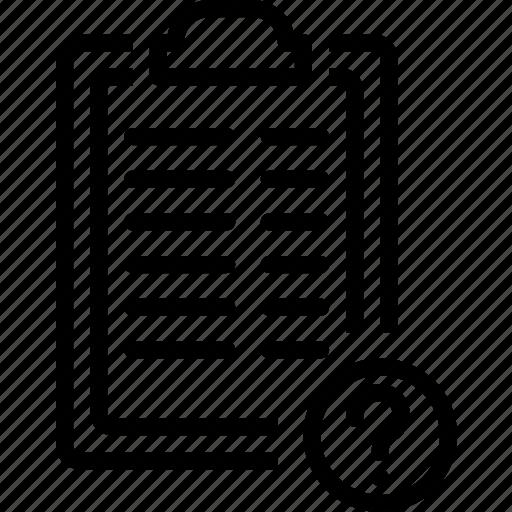 board, clip, mark, paper, question, report icon