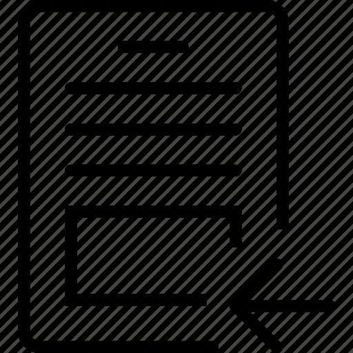 arrow, left, paper, report icon