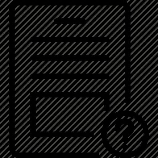 mark, paper, question, report icon