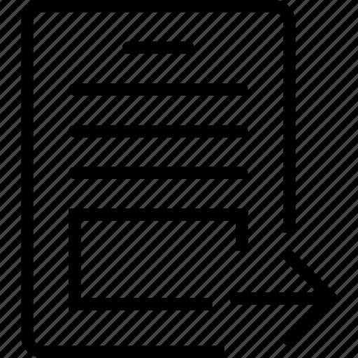 arrow, paper, report, right icon