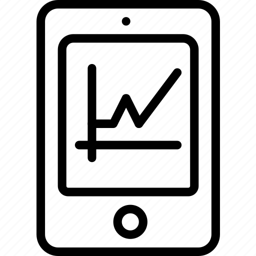 analysis, chart, graph, tablet icon