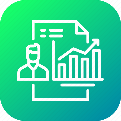 analytics, employee, growth, performance, report, self icon