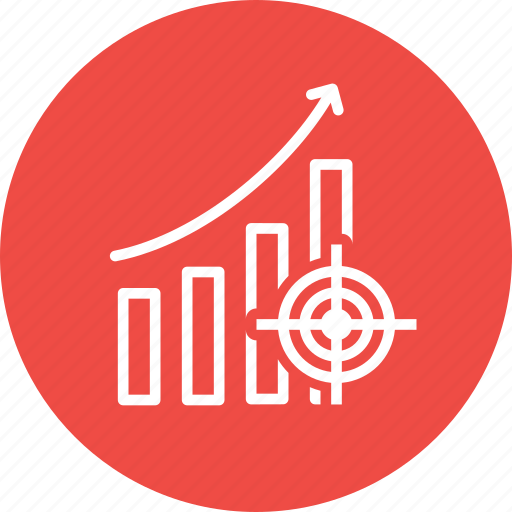 goals, growth, market, objectives, project, sales, target icon