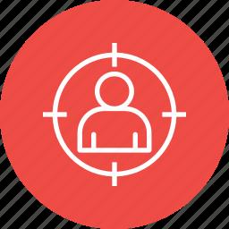 audience, customer, focus, marketing, seo, target, user icon