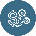 dollar, finance, management, money, optimization, settings icon