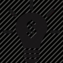 bulb, finance, idea, light, money, online icon