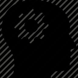 cog head, gear, head, settings, thinking icon