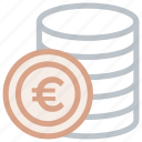 coin, euro, europe, money icon icon
