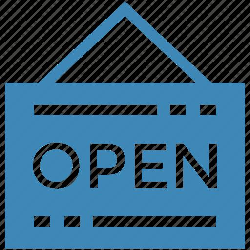 badge, open, open shop, shop sign icon icon