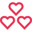 hearts, love, messaging, sms, text, three icon