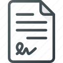 receipt, signed, paper, invoice, document, payment icon